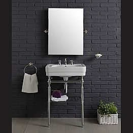 Vintage bathroom furniture composition with sink on metal structure, Beauty
