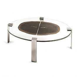 Oval coffee table Buck 1, with top made of glass/wood, modern design