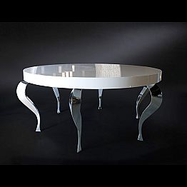 Classic design round table Luigi, MDF and steel