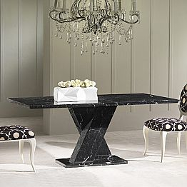 Dining table made of black marble, classic design, 200x100 cm Byron
