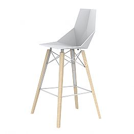 Indoor Bar Stool in Wood and Plastic Various Colors - Faz Wood by Vondom