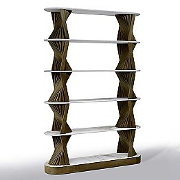 Luxury Floor Bookshelf in Wood with Stoneware Tops Made in Italy - Aspide