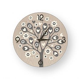Tree Of Heart modern design wall clock made of wood, produced in Italy