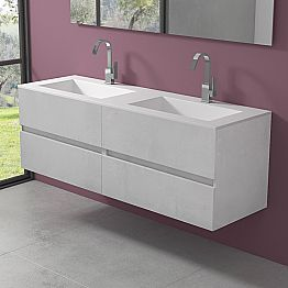 Suspended Bathroom Cabinet with Double Washbasin, Modern Design in 4 Finishes - Doppietto