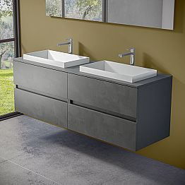 Suspended Bathroom Furniture with Double Built-in Washbasin, Modern Design - Dumbo