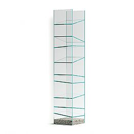 Design Floor Bookshelf in Glass with Steel Base Made in Italy - Biba