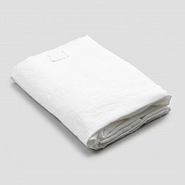 White Linen Fitted Sheet for Double Bed, Luxury Design Made in Italy - Fiumano