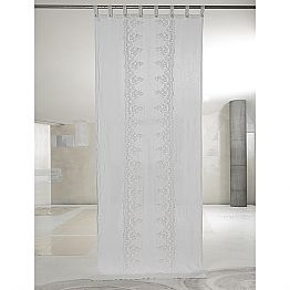 White and Light Linen Curtain with Central Lace, Elegant Design - Geogeo