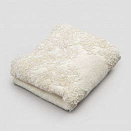 2 Cotton Terry Towelling Guest Towels and Lace Linen Blend Edge - Ginova