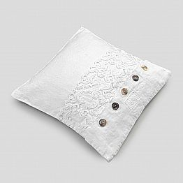 White Square Pillowcase with Lace and Buttons, Italian Luxury - Logos