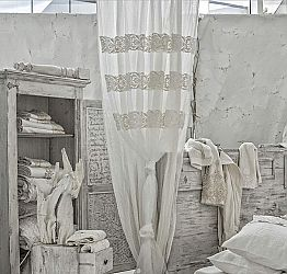 White Linen Curtain with Organza and Embroidery, Design Made in Italy - Marpessa