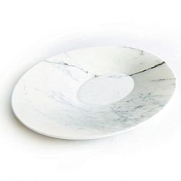 Modern Centerpiece Plate in White Carrara Marble Made in Italy - Miccio