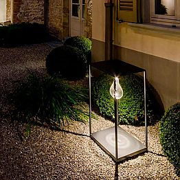 Handcrafted Iron Outdoor Lamp with Integrated LED Made in Italy - Cubola