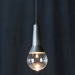 Handmade Suspension Lamp in Black Iron and Glass Made in Italy - Suspence