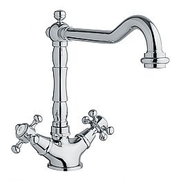Single-hole basin mixer in Brass Classic Design Made in Italy - Castor