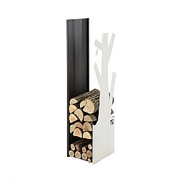 Interior Design Wood Holder in White and Black Steel - Maestrale5