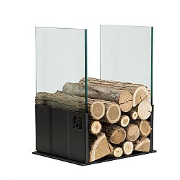 Column Wood Holder in Black Steel and Glass Modern Design - Maestrale4