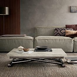 Modern Transforming Coffee Table in Wood and Metal Made in Italy - Gabri