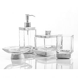 Modern bathroom accessories set in Calacatta marble and glass Carona