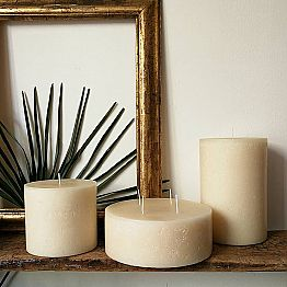 Composition of 3 Modern Round Wax Candles Made in Italy - Candie