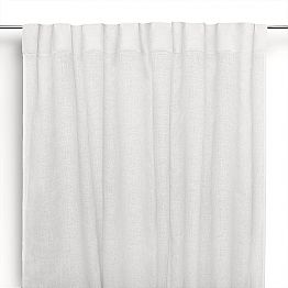 Curtain in Cream White Pure Linen with Buttonholes Made in Italy - Blessy