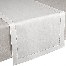 Table Runner in Cream White Pure Linen Made in Italy - Chiana
