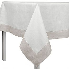 Rectangular or Square White and Natural Linen Tablecloth Made in Italy - Chiana