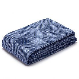 Plaid Blanket in crumpled White and Blue Linen Made in Italy - Grano