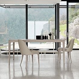 Extendable dining table Matis in grey natural walnut, modern design