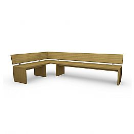 Corner design bench in oak, made in Italy, Candy