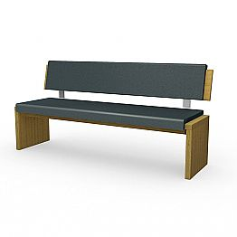 Modern bench in oak wood upholstered in black eco-leather, Misty