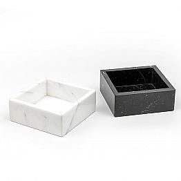 Square container in Carrara or Marquinia marble Made in Italy - Torre