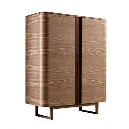Design cabinet in solid wood with 2 doors Grilli York made in Italy