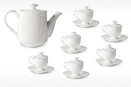 Coffee Cups Service with Foot and Lid 19 Pieces in Porcelain - Armanda