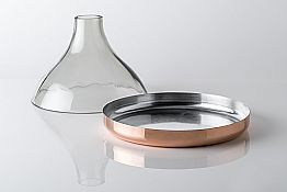 Glass Cloche with Copper Pan 2 Pieces Modern Luxury Design - Doriana