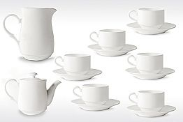 White Porcelain Cappuccino Cups Service 14 Breakfast Pieces - Samantha