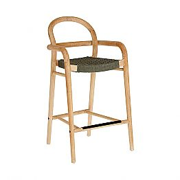 Vintage High / Low Design Wooden Stool with Kitchen Backrest - Gigliola