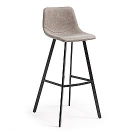 Bar stool with seat upholstered in Tonya taupe synthetic leather