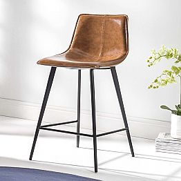 4 Leg Base Stool, H 65 in Eco-Leather and Black Base - Ovidio
