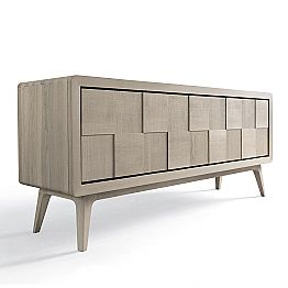 Modern sideboard Nensi with 3 doors in solid wood, made in Italy