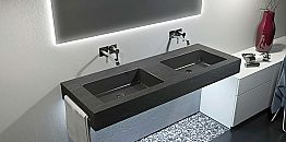 Modern suspended double sink in Texolid made in Italy, Rufina