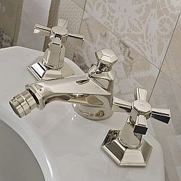 3 Hole Design Bidet Taps in Classic Style Brass Made in Italy - Silvana