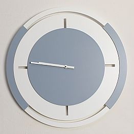 Classic Round Large Wall Clock in White and Avio Wood - Beppe