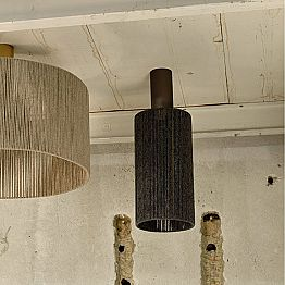 Modern cylindrical ceiling light with cahsmere lamp shade Agape