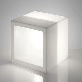 Modern design bright shelf Slide Open Cube, produced in Italy