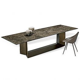 Emperador Ceramic and Bronze Metal Dining Table Made in Italy - Dark Brown