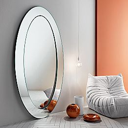 Modern Oval Free Standing Mirror with Inclined Frame Made in Italy - Salamina
