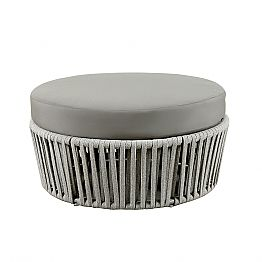 Modern Round Outdoor Pouf in Fabric, Metal and Rope Made in Italy - Mari